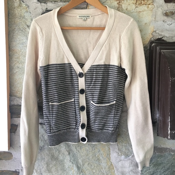 Poof Excellence Cream/Black Striped Cardigan, Sz L